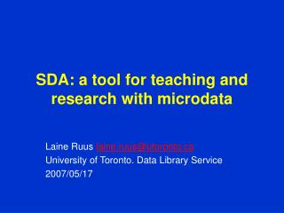 SDA: a tool for teaching and research with microdata