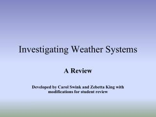 Investigating Weather Systems