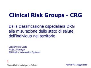 Clinical Risk Groups - CRG