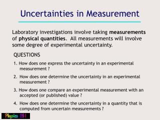 Uncertainties in Measurement
