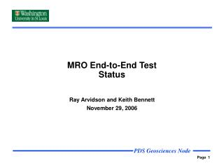 MRO End-to-End Test Status
