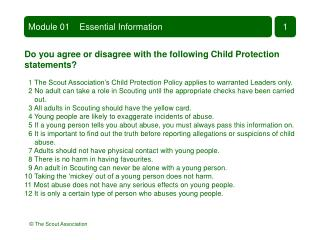 Do you agree or disagree with the following Child Protection  statements?