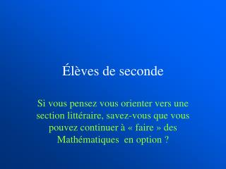 �l�ves de seconde