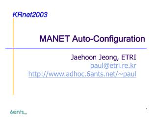 MANET Auto-Configuration