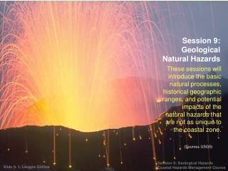 Session 9: Geological Natural Hazards