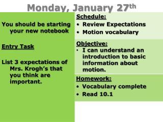 Monday, January 27 th