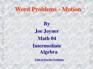 Word Problems - Motion