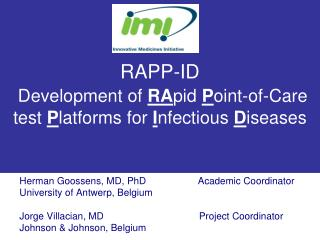 RAPP-ID  Development of RApid Point-of-Care test Platforms for Infectious Diseases