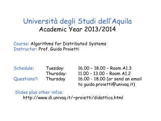 Università degli Studi dell'Aquila Academic Year 20 13 /20 14