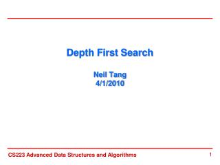 Depth First Search  Neil Tang 4/1/2010