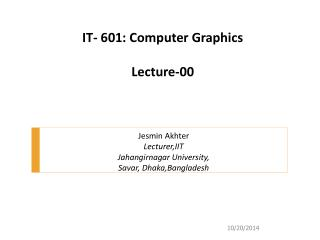 IT- 601: Computer Graphics Lecture-00