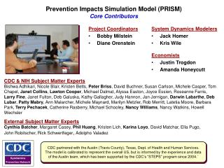 Prevention Impacts Simulation Model (PRISM) Core Contributors