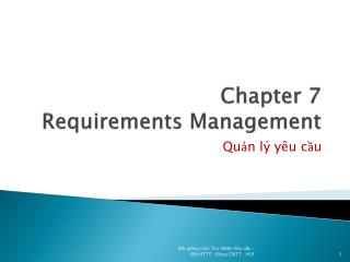 Chapter 7 Requirements Management