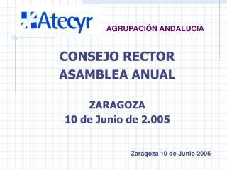 CONSEJO RECTOR ASAMBLEA ANUAL ZARAGOZA 10 de Junio de 2.005