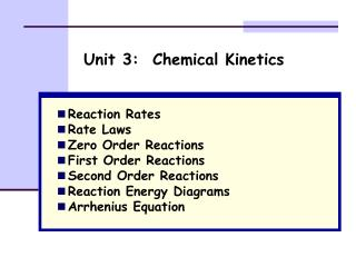 Unit 3:  Chemical Kinetics