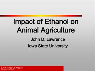 Impact of Ethanol on  Animal Agriculture