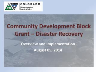 Community Development Block Grant – Disaster Recovery