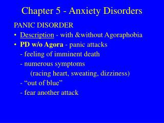 Chapter 5 - Anxiety Disorders