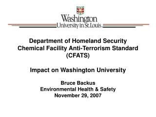 Department of Homeland Security (DHS) Chemical Facility Anti-Terrorism Standard
