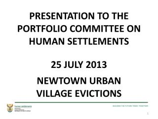 PRESENTATION TO THE PORTFOLIO COMMITTEE ON HUMAN SETTLEMENTS 25 JULY 2013