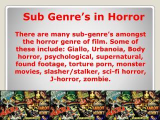 Sub Genre's in Horror