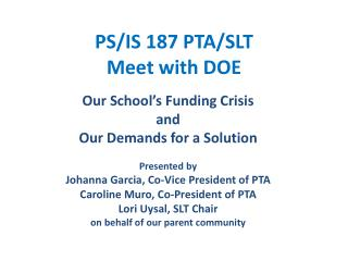 PS/IS 187 PTA/SLT Meet with DOE