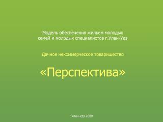 Модель обеспечения жильем молодых семей и молодых специалистов г.Улан-Удэ