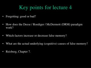 Key points for lecture 4
