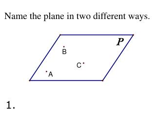 Name the plane in two different ways.
