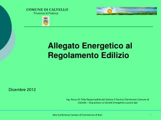 Allegato Energetico al Regolamento Edilizio