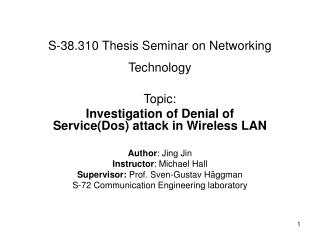 S-38.310 Thesis Seminar on Networking Technology