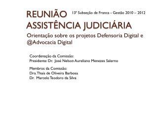 REUNIÃO  ASSISTÊNCIA JUDICIÁRIA