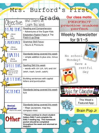 Weekly Newsletter for 9/1~5