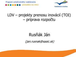 LDV – projekty prenosu inovácií (TOI) – príprava rozpočtu