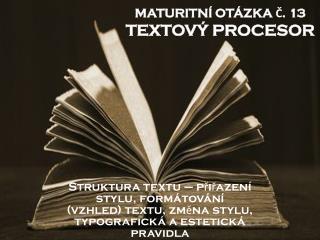MATURITNÍ OTÁZKA Č. 13 TEXTOVÝ PROCESOR