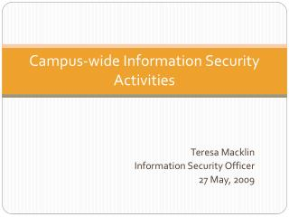 Campus-wide Information Security Activities