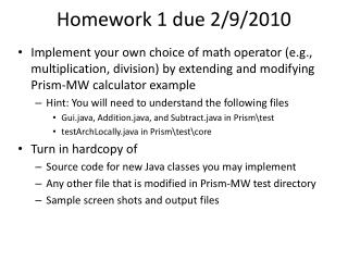 Homework  1  due 2/9/2010