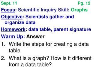 Sept. 11Pg. 12 Focus :  Scientific Inquiry Skill:  Graphs