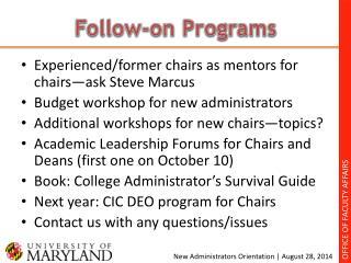 Follow-on Programs