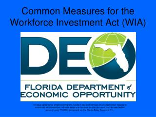 Common Measures for the Workforce Investment Act (WIA)
