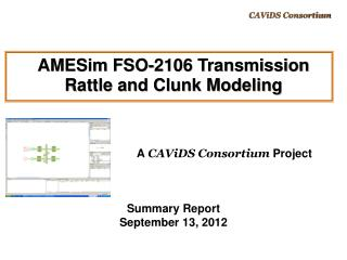 AMESim FSO-2106 Transmission  Rattle and Clunk Modeling