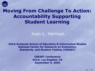 Moving From Challenge To Action: Accountability Supporting Student Learning