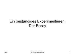 Ein beständiges Experimentieren: Der Essay