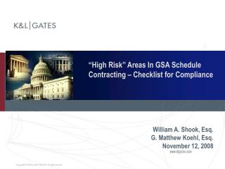High Risk  Areas In GSA Schedule Contracting   Checklist for Compliance