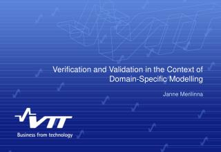 Verification and Validation in the Context of Domain-Specific Modelling
