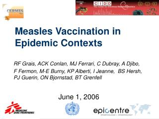 Measles Vaccination in Epidemic Contexts