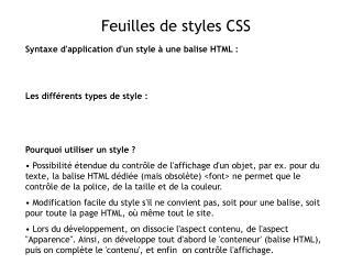 Feuilles de styles CSS
