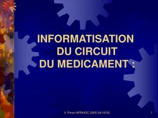 INFORMATISATION  DU CIRCUIT  DU MEDICAMENT :
