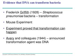 Evidence that DNA can transform bacteria