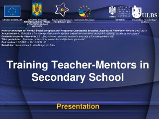 Training Teacher-Mentors in Secondary School
